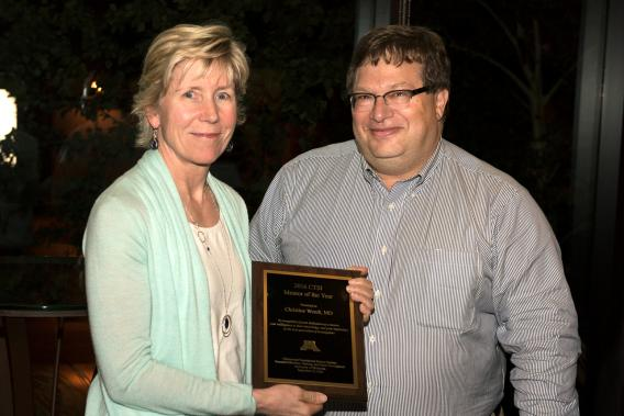 Dr. Christine Wendt receiving CTSI's 2016 Mentor of the Year Award from CTSI-Ed Director David Ingbar, MD.Dr. Christine Wendt receiving CTSI's 2016 Mentor of the Year Award from CTSI-Ed Director David Ingbar, MD. Dr. Wendt has affiliate professorship at the Department of Medicine and is the VA Medical Center's Section Chief of Pulmonary, Allergy, Critical Care and Sleep.